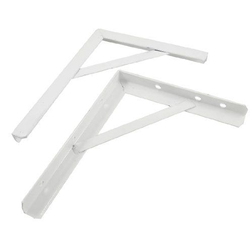 Amico White Lacquered 90 Degree Metal Corner Support Shelf Bracket 2 Pcs By 1417