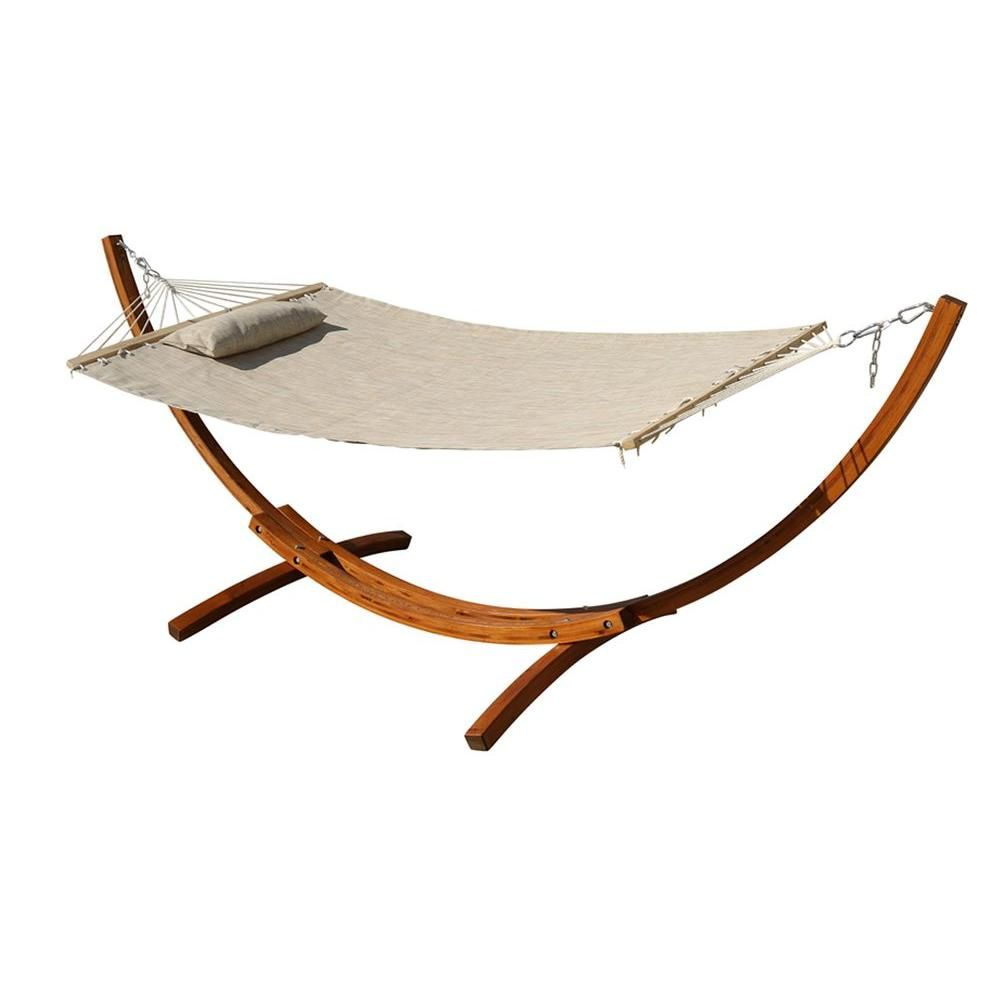 Leisure season ft woven mesh arc hammock with stand in beige