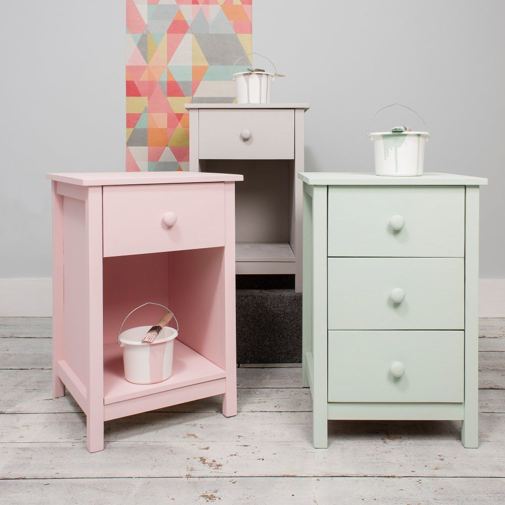 1 Drawer Bedside Cabinet Arla In Raw Unpainted Pink Bedside