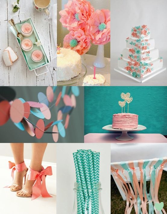 Teal and Coral Wedding Styling Mood Board. Love the first cake on ...