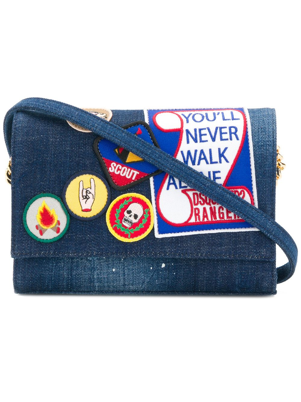 Get New Browse Cheap Price badge denim shoulder bag - Blue Dsquared2 Clearance Sast Best Inexpensive For Sale T3YnP