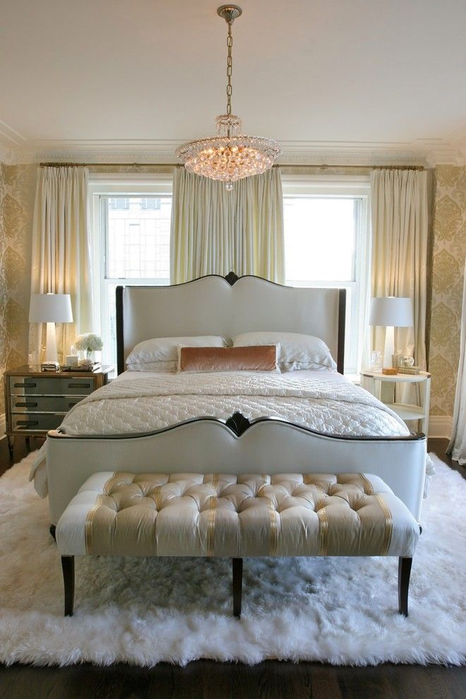 guest bedroom queen anne frame tufted end bench ideas plush white ...