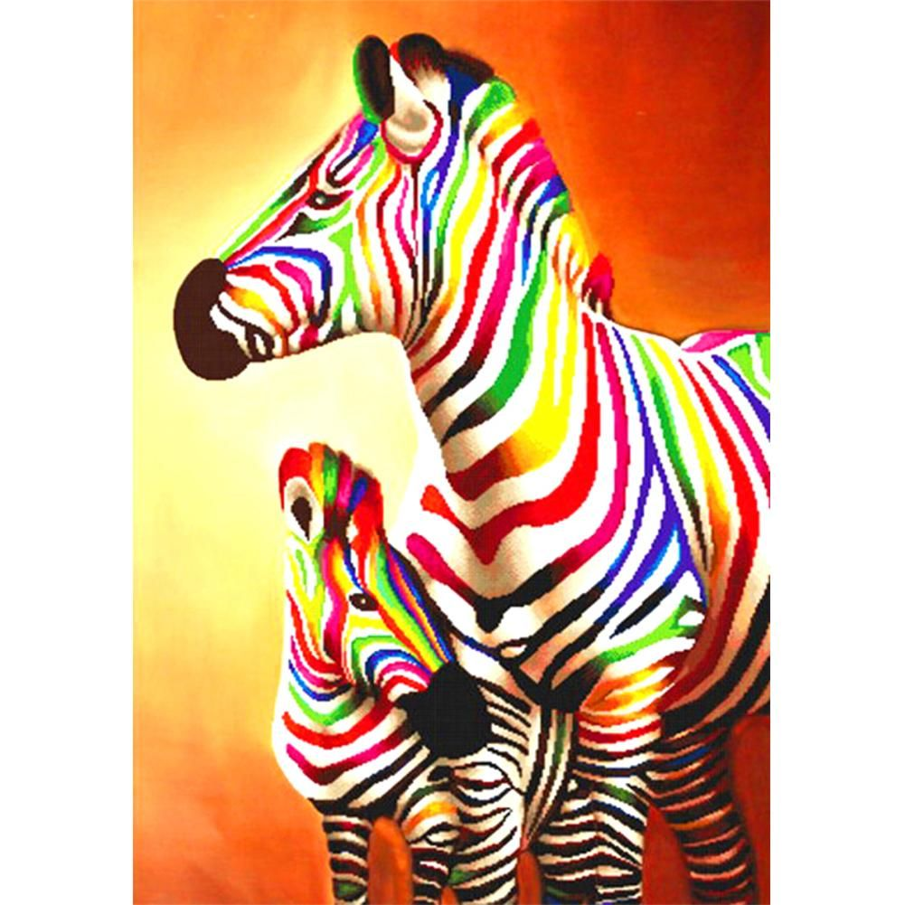Diamond Painting Full Square Rainbow Zebra Painting