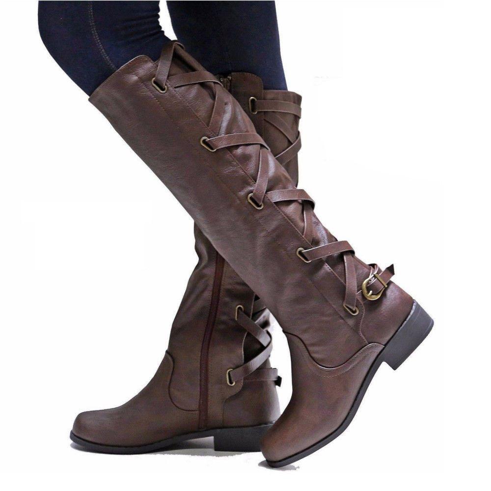 ef5dd69133e sapato feminino riding boots women shoe low heels round toe girls knee high  martin booties cross tied belts zapatos mujer AB0009