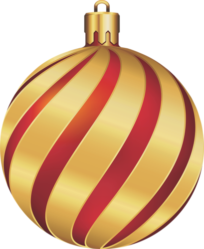 Christmas gold and red swirl ornament clip art