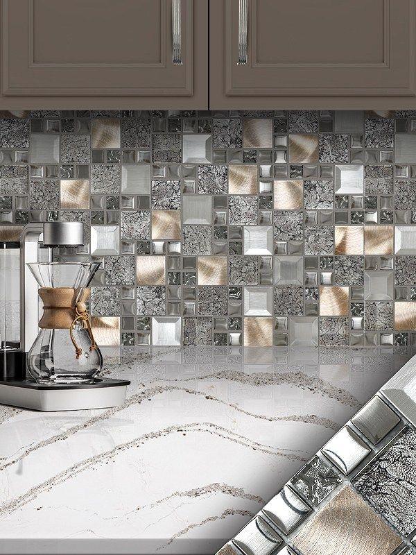 Glass Metal Gray Copper Mosaic Backsplash Tile Backsplash Com Gray Kitchen Backsplash Copper Mosaic Backsplash Mosaic Backsplash