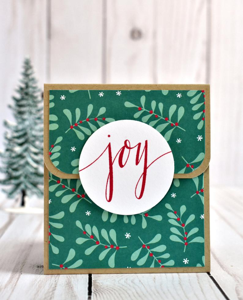 Holiday Gift Card Holder Set - Christmas Gift Card Holders for Teacher - Coworker Gift - Handmade Sister Gift, Joy Boughs Christmas Giftcard #coworkerchristmasgiftideas