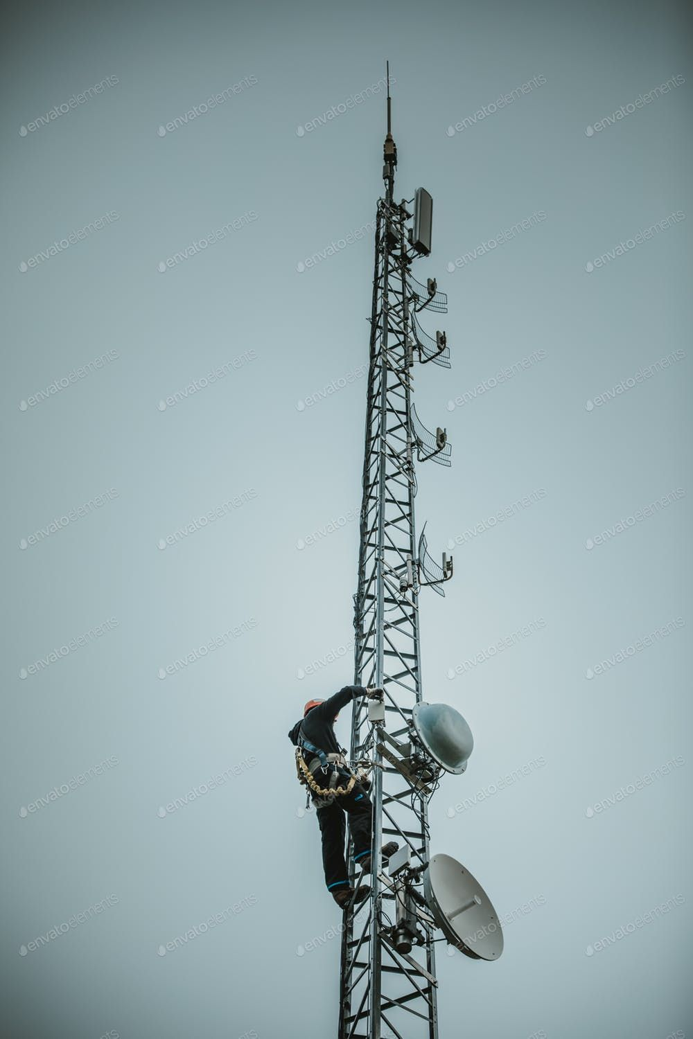 Telecom Worker Climbing Antenna Tower Photo By Aetb On Envato Elements Antenna Photo Tower