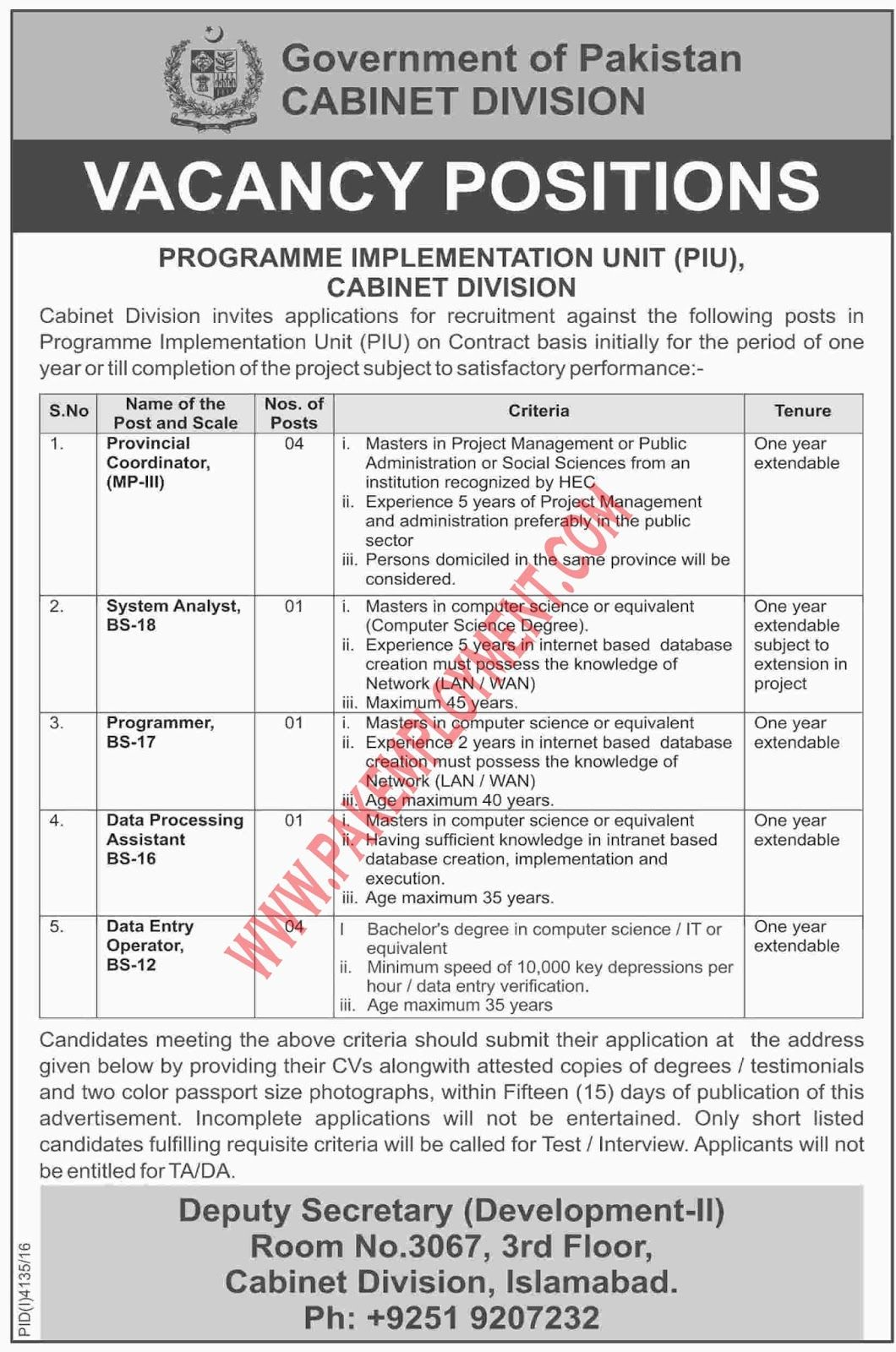 Pakistan Employment Cabinet Division Government Of Pakistan Jobs