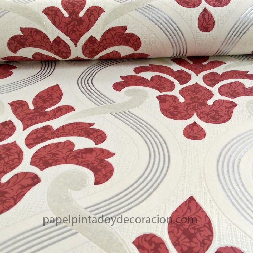 Papel pintado vintage tonos blanco rojo y gris pdw91330630 for Papel pintado rojo