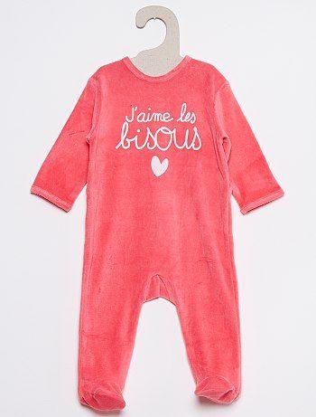 d1c9bc1864719 Pyjama velours imprimé rose pâle Bébé fille - Kiabi
