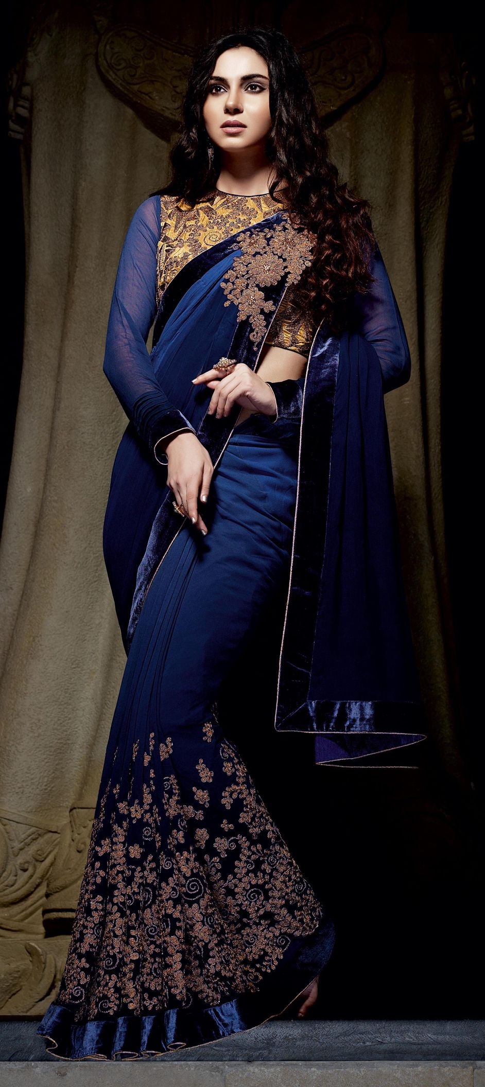 190f4cba98f Bemberg Party Wear Saree in Blue with Thread work