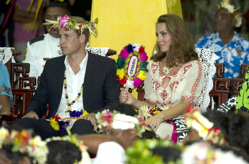 Prince William and Kate Middleton dressed in traditional garb to visit Tuvalu.