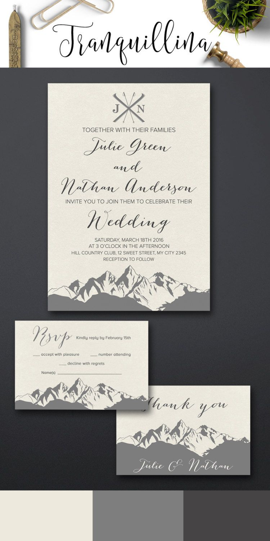 Mountain Wedding Invitation Printable, Winter Wedding Invitation ...