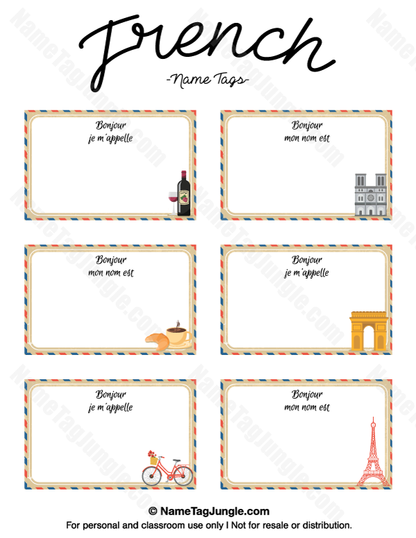 Free printable french name tags the template can also be used for creating items like labels for Free name tag template