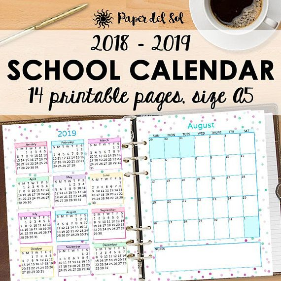 2018 2019 A5 School Calendar Printable Planner Instant Download
