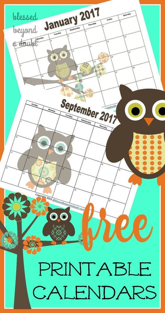 FREE 2020 Monthly Printable Calendars - Owl Themed ...