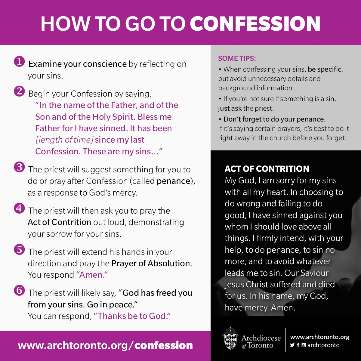 How To Go To Confession Http Www Archtoronto Org Confession Catholic Confession Reconciliation For Catholic Confession Catholic Teaching Catholic Beliefs