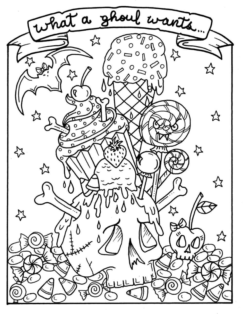 Halloween Sweets and Pinups Digital Download Coloring Book, cupcakes, candy, sassy pinups, adult coloring fun