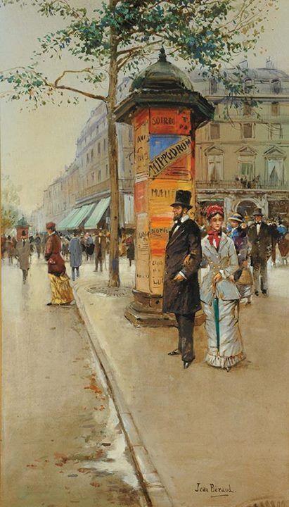 Jean Beraud (1849 - 1935). Vista de una calle de París