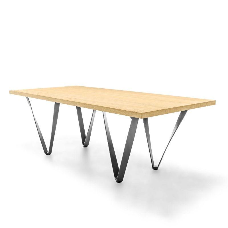 Table design extensible en métal et bois - Wave Tables and House