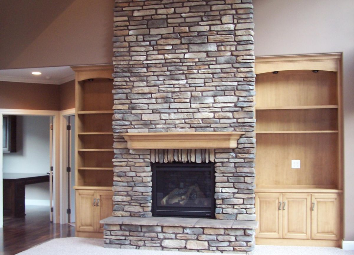 Stone Built Fireplaces stone fireplace built in bookshelves | massive stone fireplace