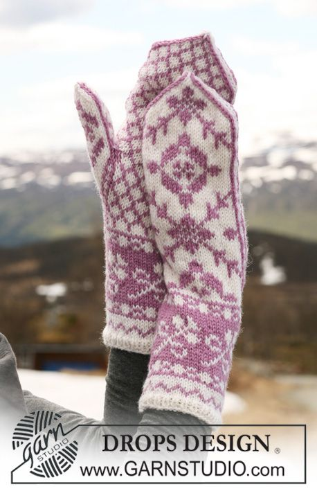 """DROPS 116-6 - DROPS mittens with pattern in """"Karisma"""". - Free ..."""