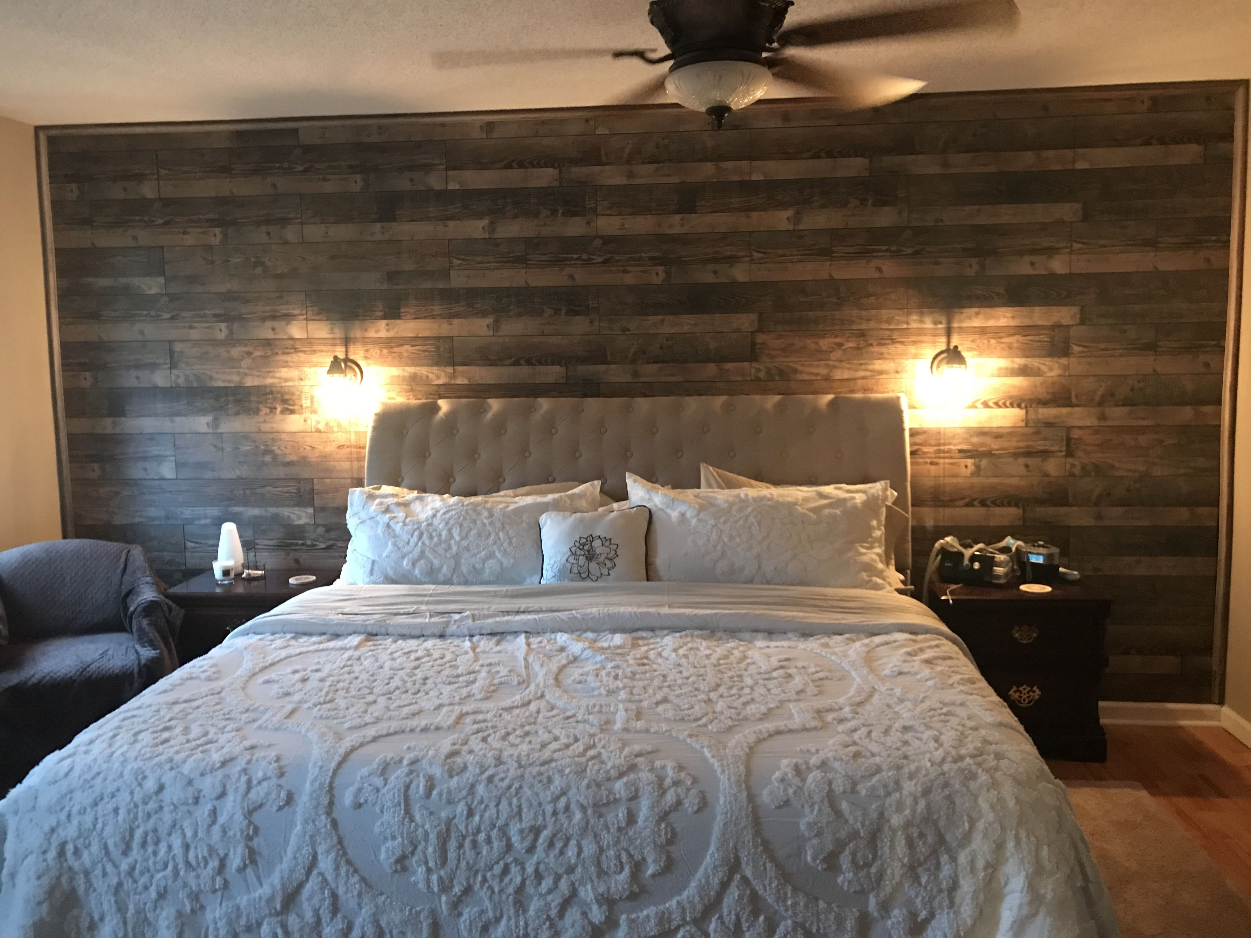 Master Bedroom Accent Wall of Reclaimed Wood. | Bed and ...