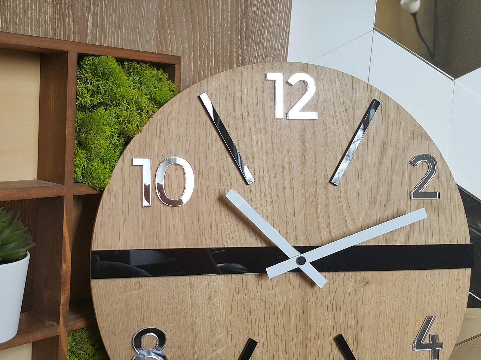 Wall Clock In Scandinavian Style White Black And Mirror Large Wood Clock Wood King 33 5cm 13 19 Large Wood Clock Wood Clocks Colorful Wall Clocks