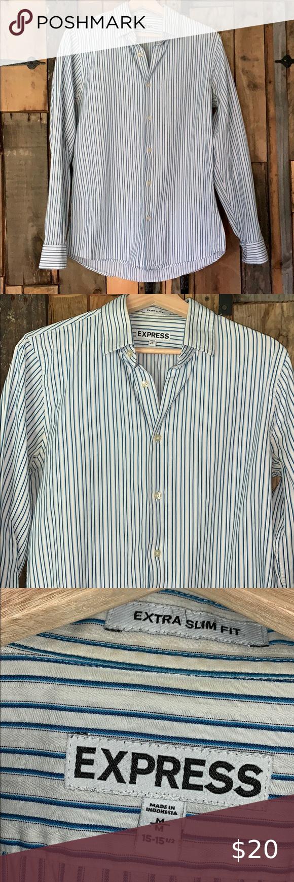 Express Men S Blue White Striped Dress Shirt Sz M Blue White Striped Dress White Striped Dress Striped Dress [ 1740 x 580 Pixel ]