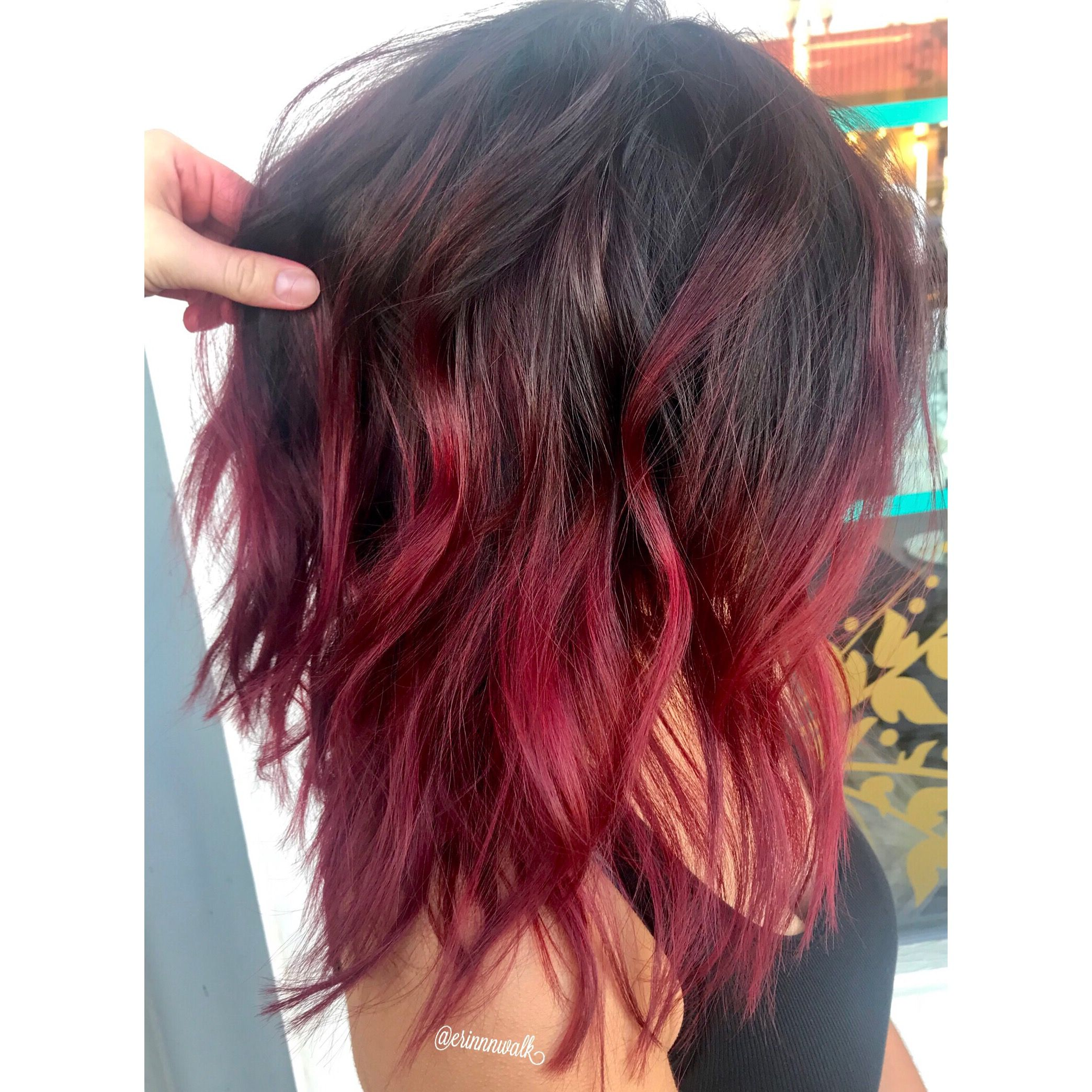 Pin By Tiny Turtle On Hair Ideas Red Ombre Hair Red Hair Tips Wine Hair