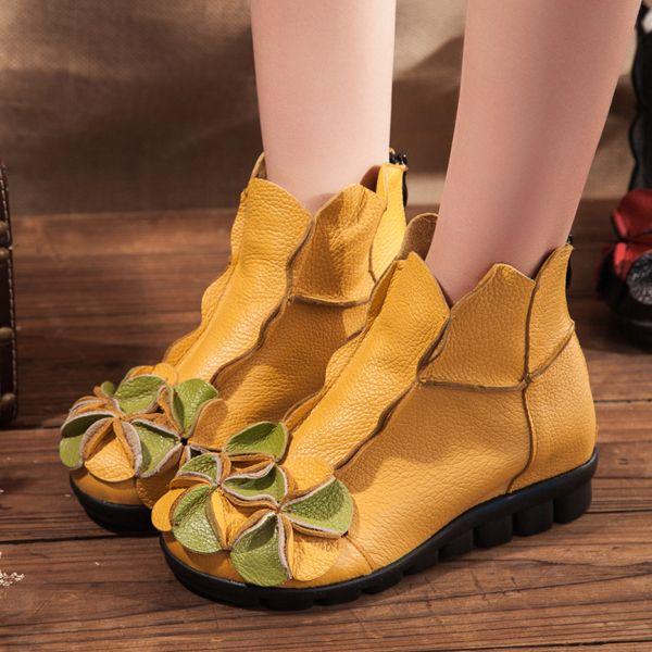 Socofy Rétro Chaussures Plates En Cuir Causual ml9lRp