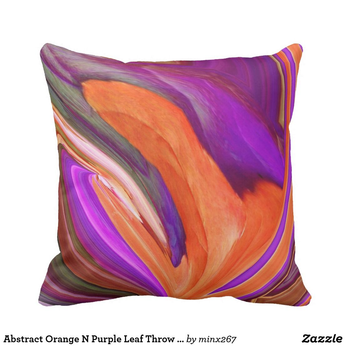 Abstract Orange N Purple Leaf Throw Pillow Zazzle Com Throw Pillows Orange And Purple Pillows