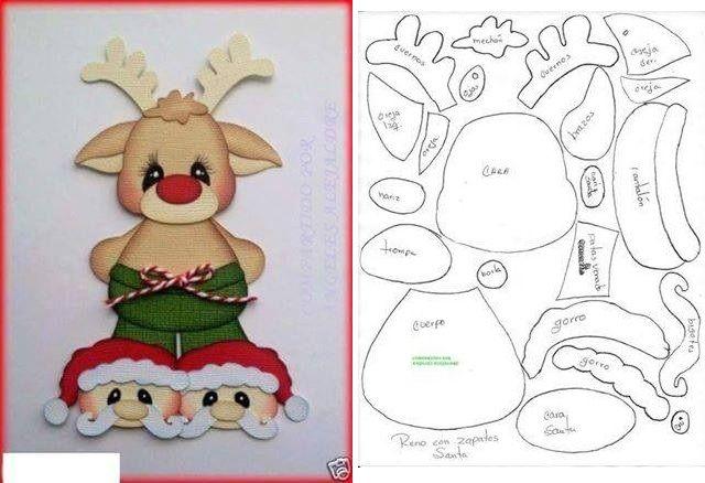 Patrones Dibujos De Navidad En Foami.Reno En Foami Con Sus Moldes Navidad Navidad En Foami
