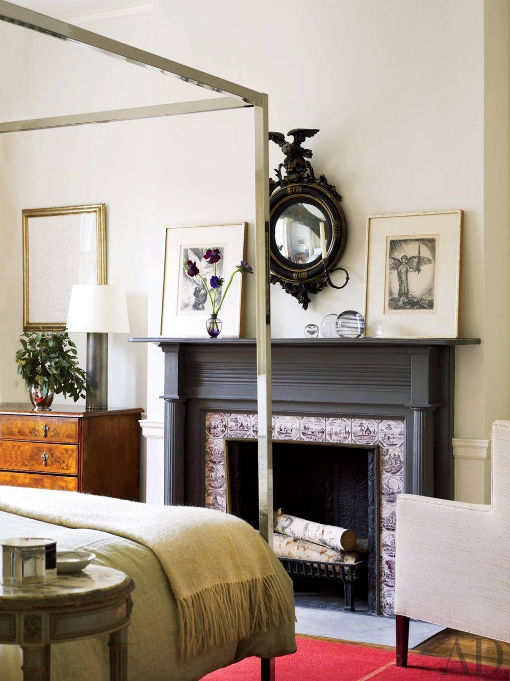 An English Regency Mirror And A Pair Of Marc Chagall Drawings Are Displayed  In A Guest Room Of This Philadelphia Townhouse Decorated By Thomas Jayne  Studio.