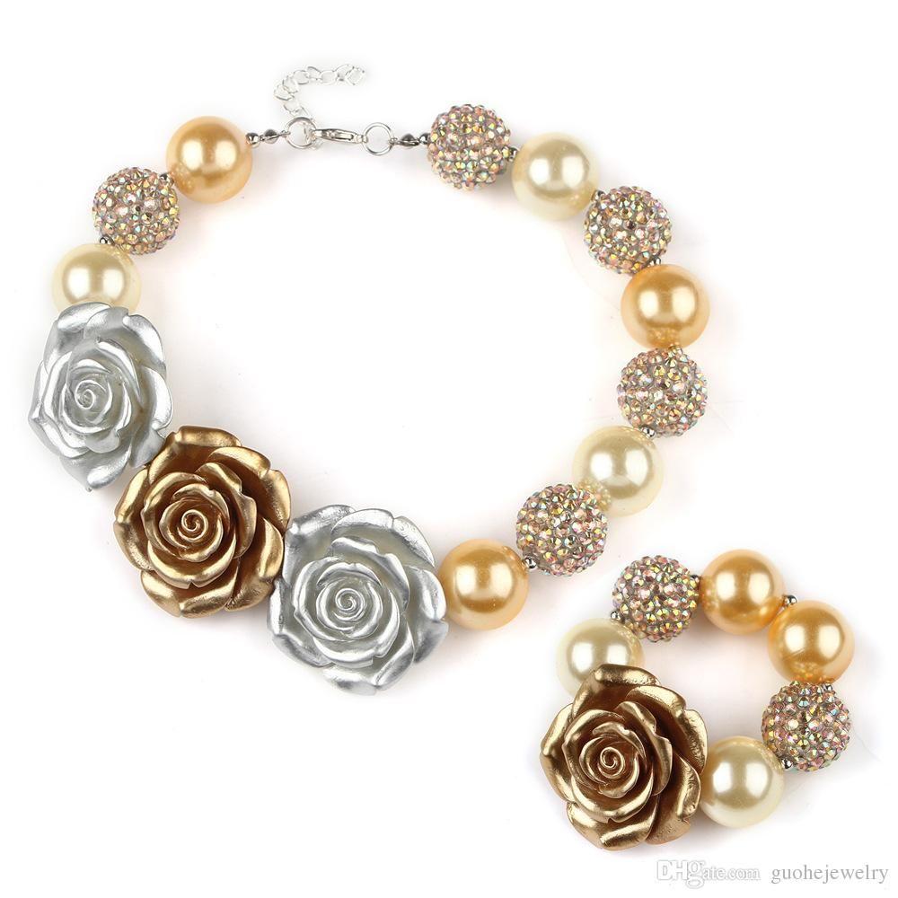Resin flower necklaces bracelets set handmade beaded jewelry sets