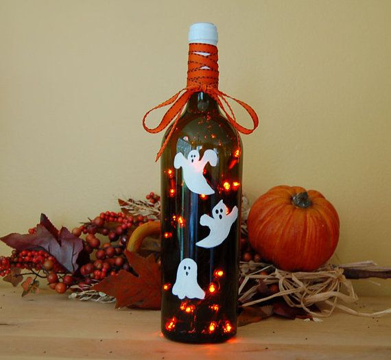 Wine bottle light, Halloween decoration, ghost, white, orange - halloween lighted decorations