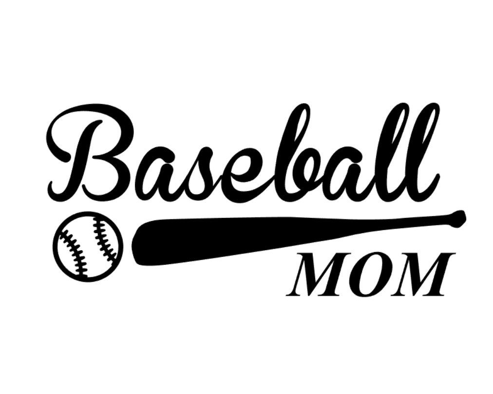 Custom Baseball Mom Vinyl Decal With Bat And Ball Detail - Custom vinyl baseball decals