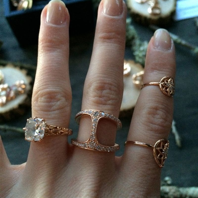 GoldGirl pairs her Fred Leighton rose gold engagement ring with