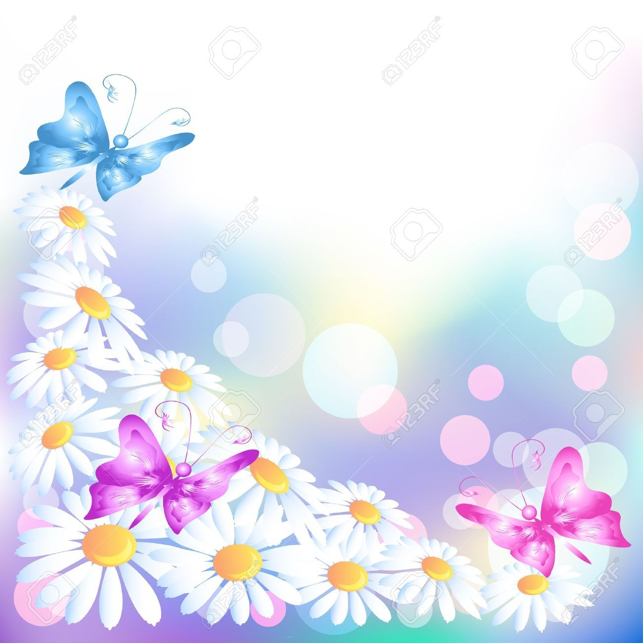 12167668 flowers background with butterflies stock vector