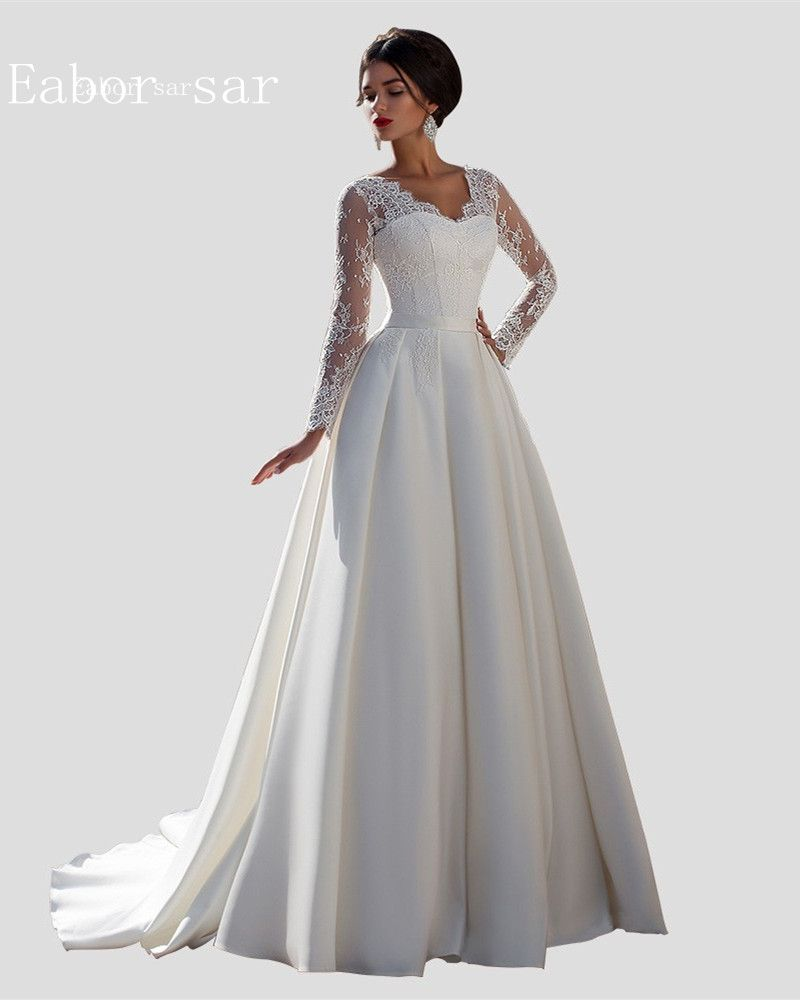Vintage lace long sleeve wedding dresses ball gowns stain back