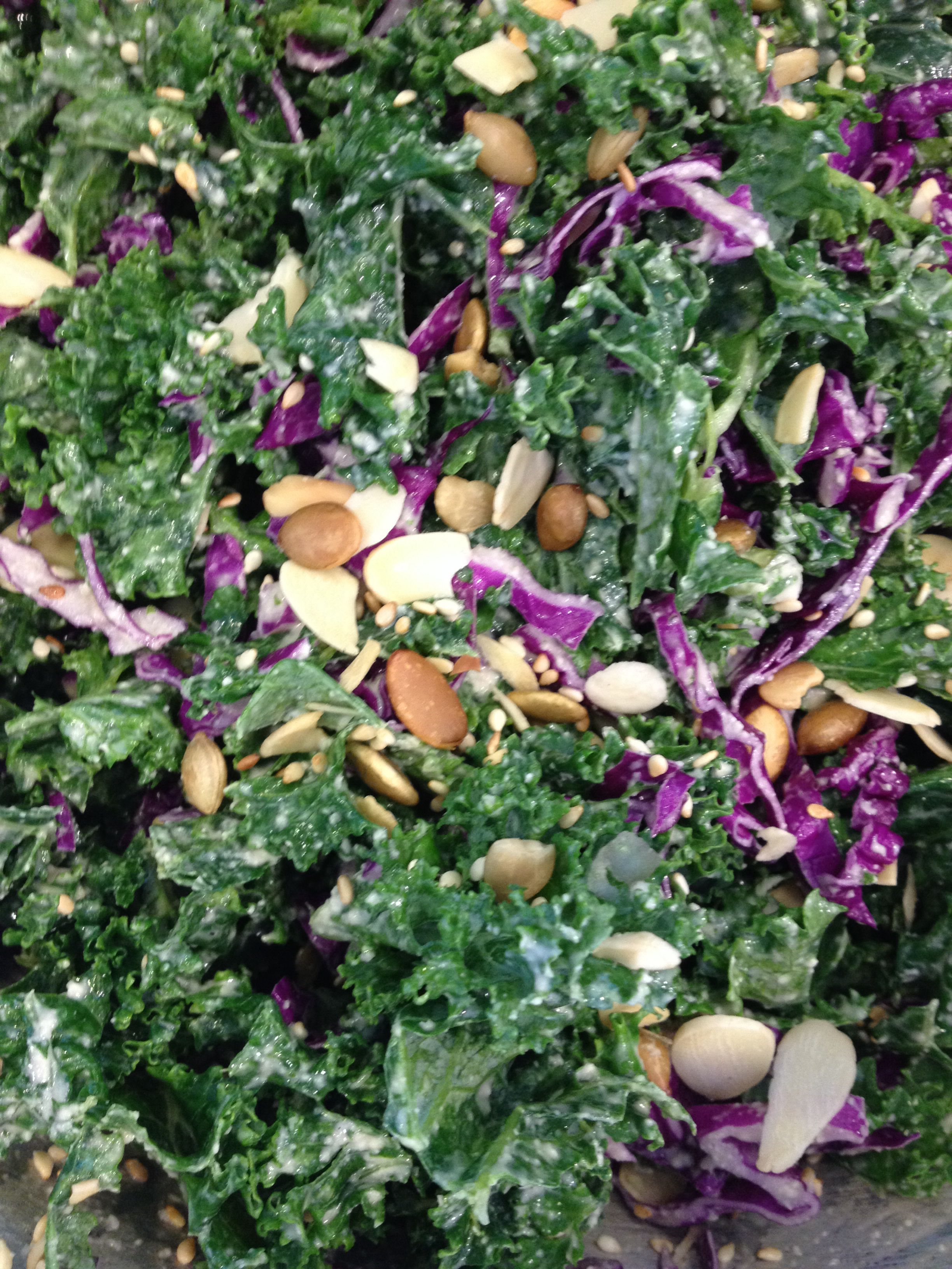 """Creamy Seeded Kale Salad with cashew """"ranch"""" dressing"""