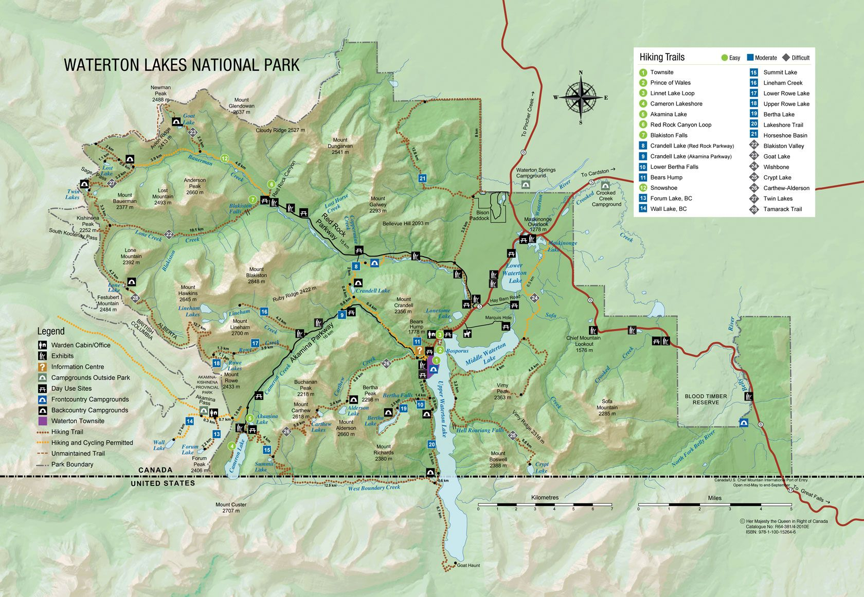 Map Of Waterton National Park Canada Map of Waterton Lakes National Park | Waterton lakes national park