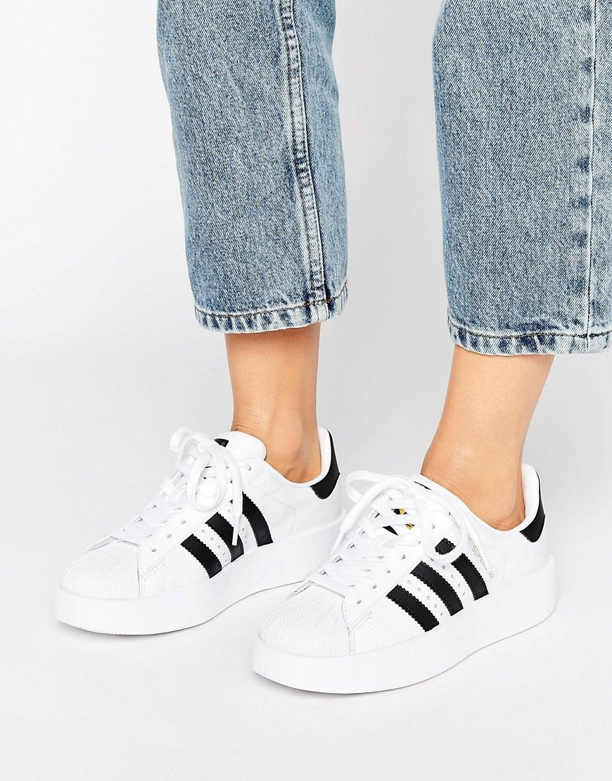 Shop adidas Originals Bold Double Sole White And Black Superstar Trainers  at ASOS.