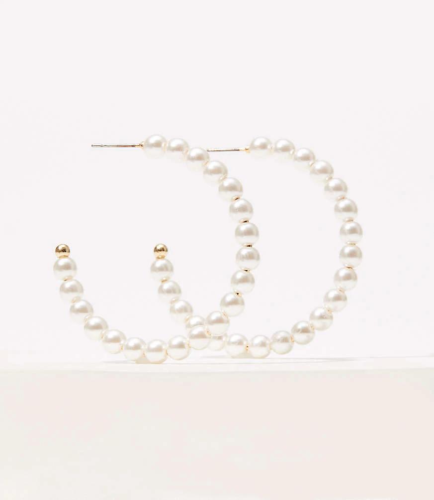 LOFT Pearlized Hoop Earrings #loftclothes