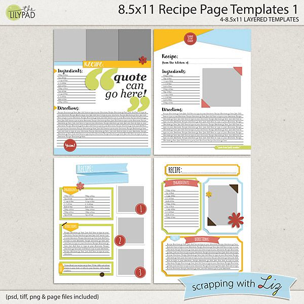 here are four templates for making your own recipe book each
