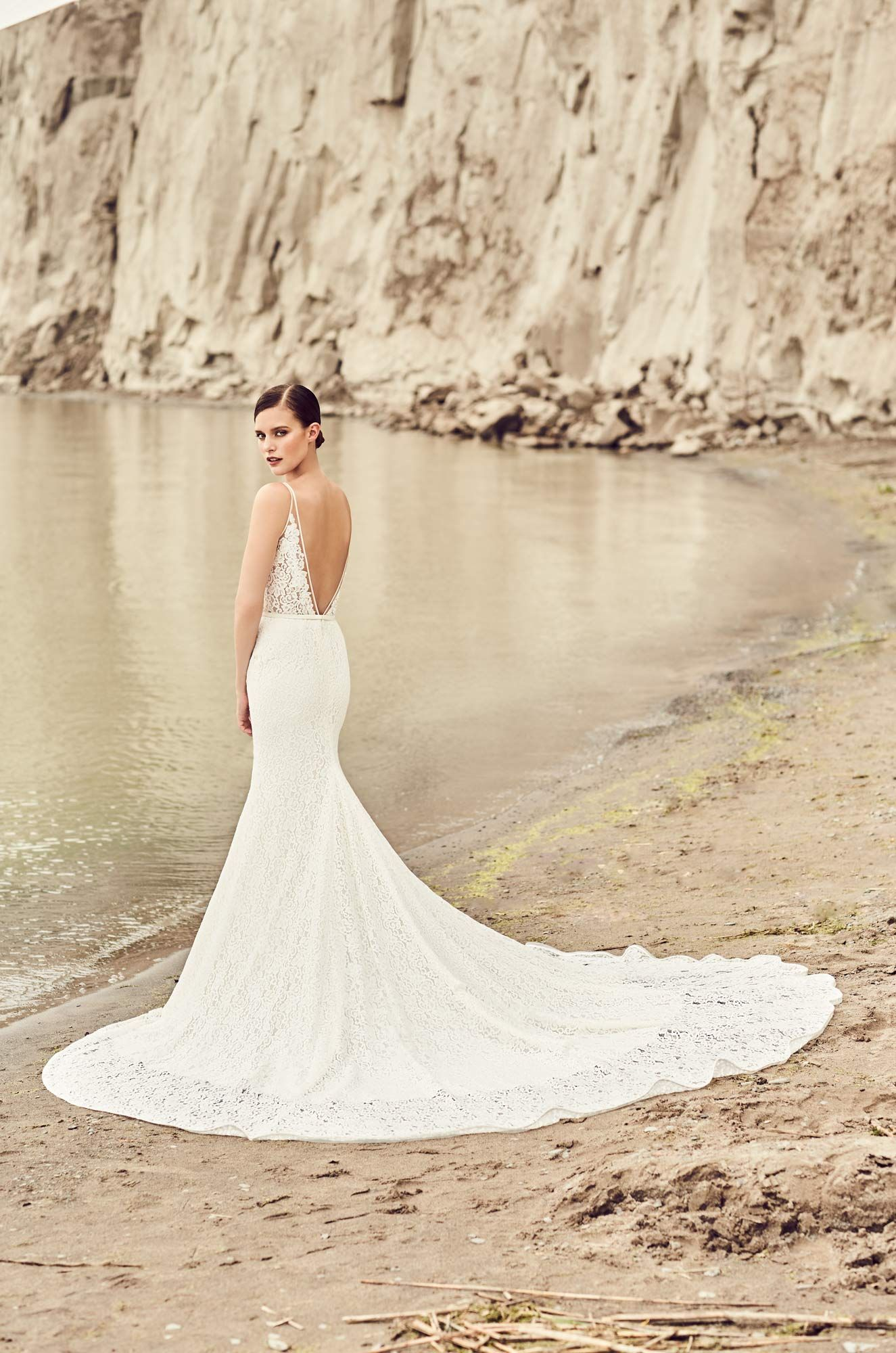 Mikaellabridal style vneckline lace bodice lined in nude