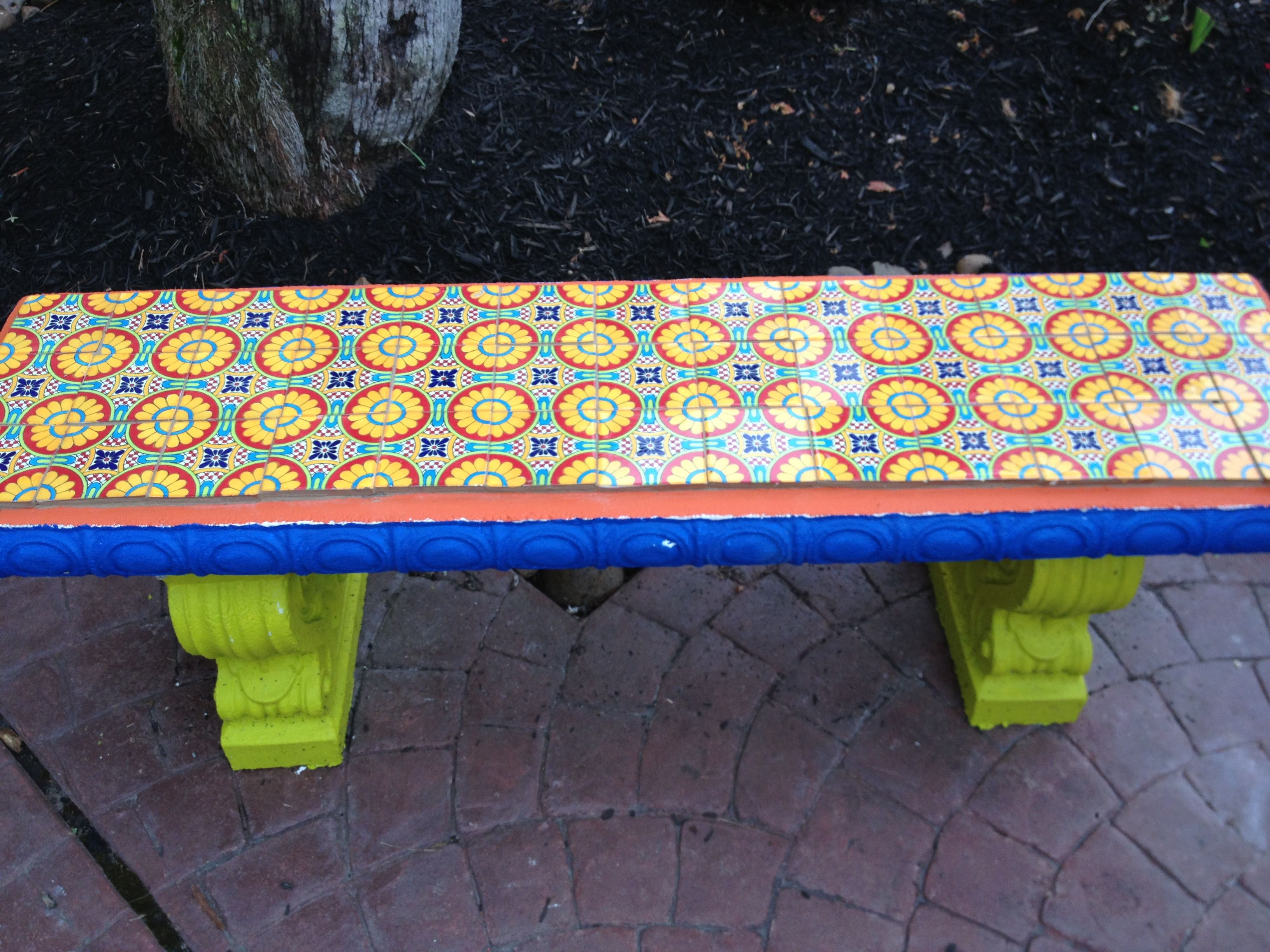 Tile Mexican Cement Bench - Year of Clean Water