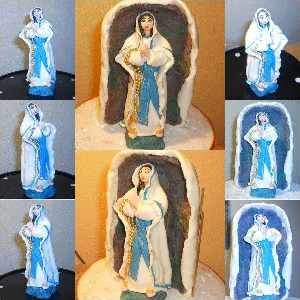 Lady of Lourdes Fondant Topper  #caketopper #fondant #handmade #religious #mary