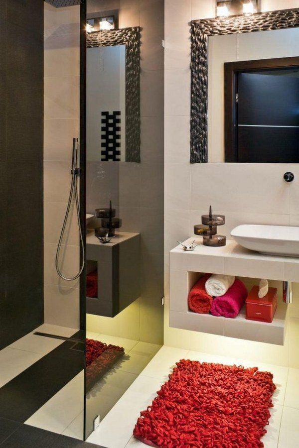 open shower without door black glass partition walll red accents small  bathroom design ideas